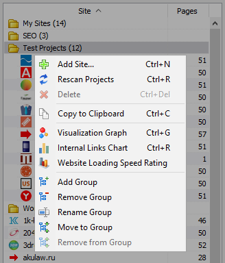 SiteAnalyzer, Project List Context Menu