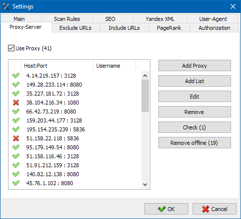 SiteAnalyzer, Proxy settings