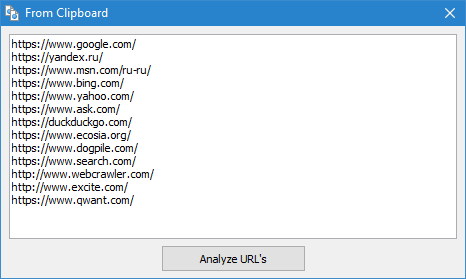 SiteAnalyzer, Scanning a list of arbitrary URLs via the Clipboard