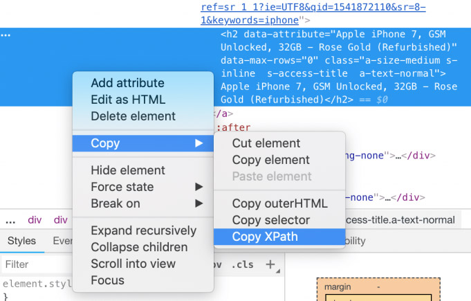 Copy XPath from browaser
