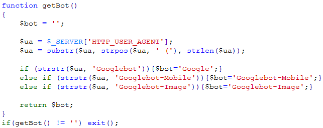 How not to consider Googlebot, code in PHP