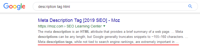 Description in search results